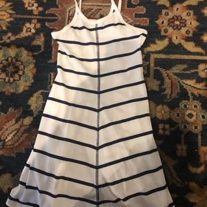 Girls Navy blue and white striped casual dress